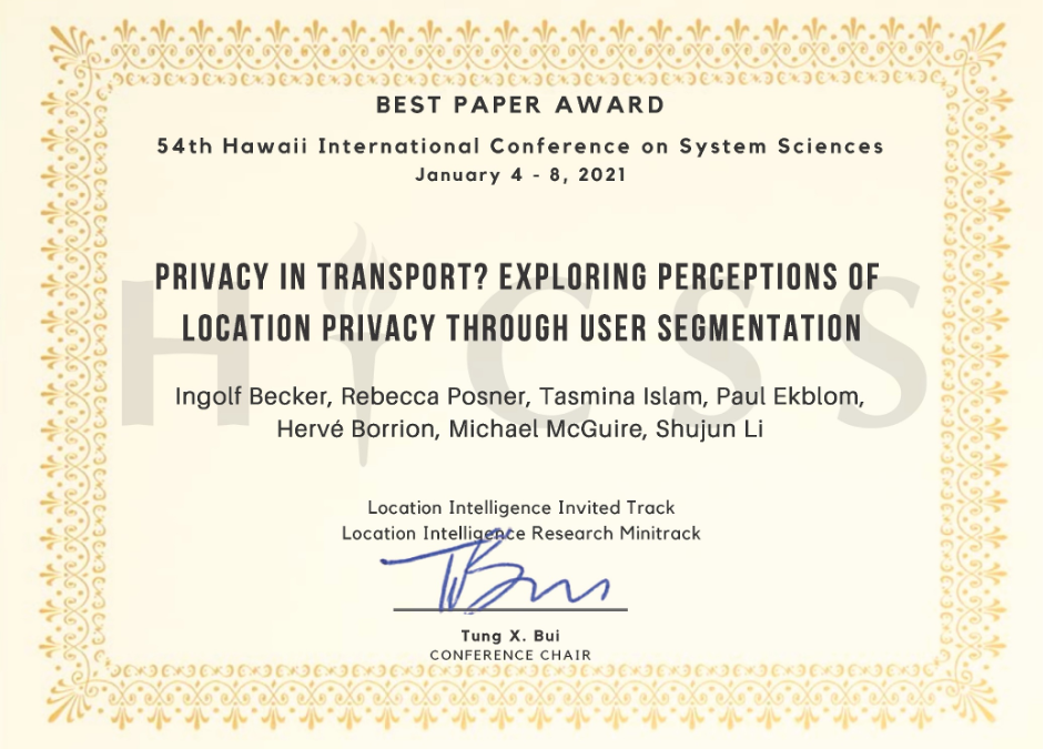 Research Team of ACCEPT receive Best Paper Award at HICSS 2021 Conference